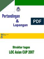 Perencanaan, Pengaturan Tugas Personil  Seksi Pertandingan dan Lapangan Piala Asia 2007.