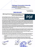 Press Release of BRCA for the latest violence against Muslims in Central Burma