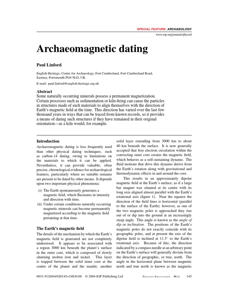 English heritage archaeomagnetic dating