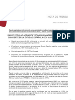 Nota Prensa Resultados Ejercicio 2012