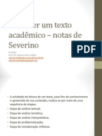 Como ler um texto acadêmico – notas de Severino