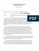 Attorney General Eric Holder Memo to Avoid Furloughs at U.S. Prisons