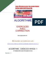 Corriges Des Exercices Algorithme TOUS LES NIVEAUX