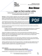 Alberta Federation of Labour News Release -  Redford Reneges on Farm Worker Safety
