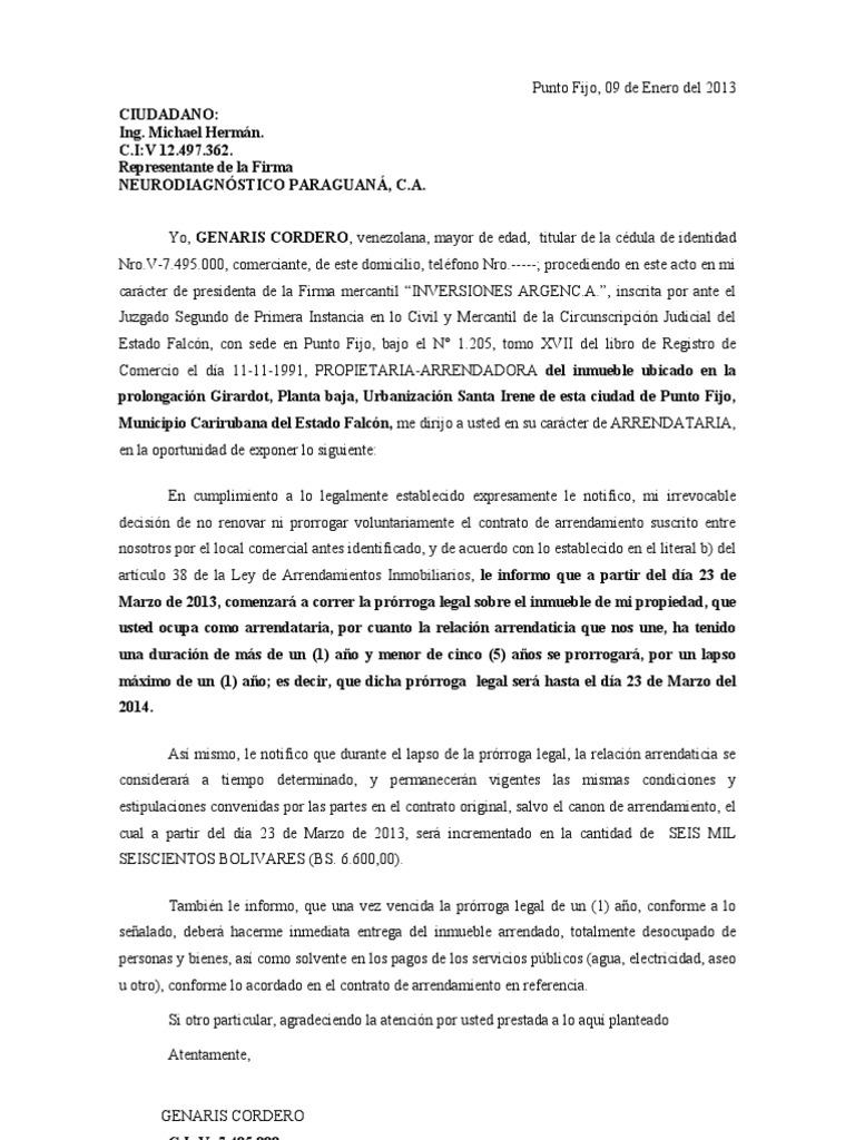 Carta Notificando No Prorroga Contrato Arrendamiento Gobierno Política