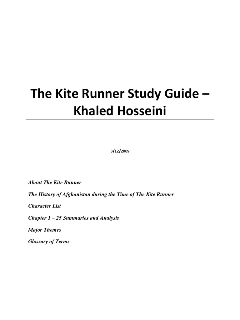 characters in the kite runner by khaled hosseini