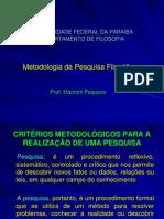 Metodologia da Pesquisa Filosófica - O PROJETO DE PESQUISA