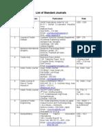 Textile Journal List