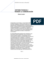 Antonio Pasquali, comprender la comunicación - Oscar Lucien