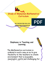 5 Pillars  Study of Malaysian MathematicsStudy of Malaysian Mathematics CurriculumCurriculum Study of Malaysian MathematicsStudy of Malaysian Mathematics CurriculumCurriculum Study of Malaysian MathematicsStudy of Malaysian Mathematics CurriculumCurriculum AB. RAZAK BIN SALLEHAB. RAZAK BIN SALLEH Mathematics DepartmentMathematics Department Emphases in Teaching and Learning The Mathematics curriculum is ordered in such a way so as to give flexibility to the teachers to create environment that is enjoyable, meaningful, useful and challenging for teaching and learning. The Mathematics curriculum is ordered in such a way so as to give flexibility to the teachers to create environment that is enjoyable, meaningful, useful and challenging for teaching and learning. On completion of a certain topic and in deciding to progress to another learning area or topic, the following need to be taken into accounts: On completion of a certain topic and in deciding to progress