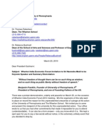 Wharton Satyagraha - Memorandum sent to University of Pennsylvania by 25 eminent intellectuals