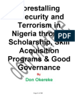 Forestalling Insecurity, Radicalism and Terrorism Through Education, Scholarship