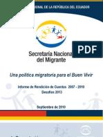 SENAMI - INFORME DE RENDICIÓN DE CUENTAS 2007 - 2010