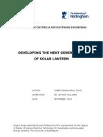 Developing the Next Generation of Solar Lantern