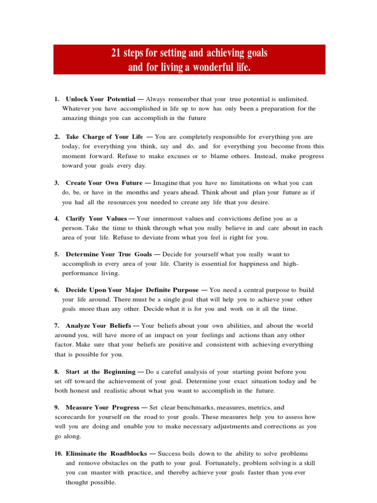 21 steps for setting and achieving goals and for living a wonderful life goal creativity