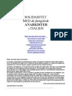 SOLIDARITET MED de fængslede ANARKISTER i ITALIEN