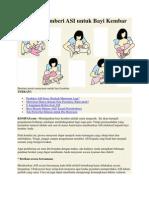 Panduan Memberi ASI Untuk Bayi Kembar