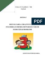Dezvoltarea Creativitatii Prin Folosirea Schemelor in Rezolvari de Exercitii Si Probleme