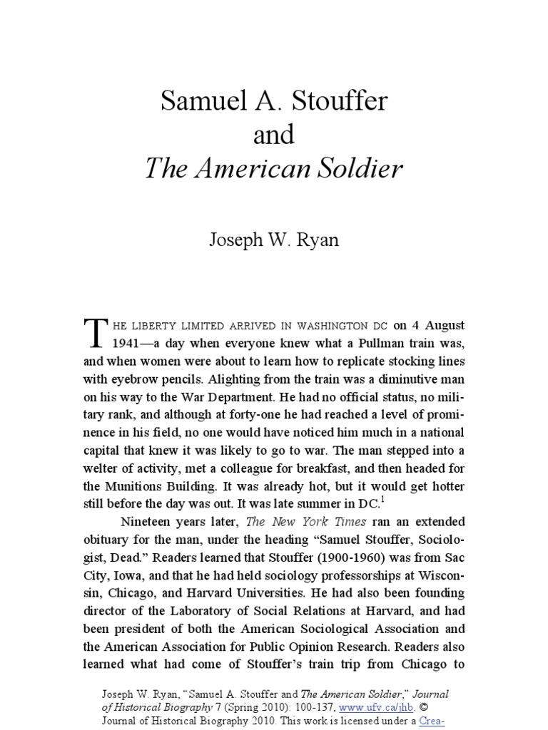 samuel stouffer and the gi survey ryan joseph w
