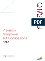 Previsioni Manpower Occupazione I Trimestre 2013