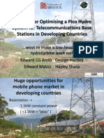 Features for Optimising a Pico Hydro System for Telecommunications Base Stations in Developing Countries