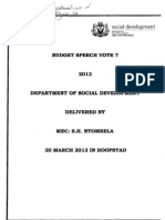 Social Development Budget Speech 20 March 2013