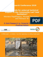 Is there a role for external technical support in the Community-Led Total Sanitation (CLTS) approach?