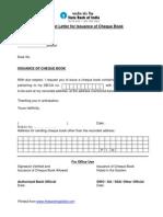 Cheque Book Request Letter