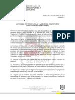 AUTORIZA GDF AJUSTE A LAS TARIFAS DEL TRANSPORTE CONCESIONADO Y METROBÚS