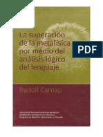 La Superacion de La Metafisica Por Medio Del Analisis Logico Del Lenguaje -Rudolf Carnap