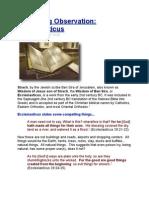 Interesting Observation - Ecclesiasticus