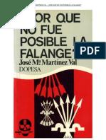 ¿Por qué no fue posible la Falange¿ José María Martínez Val