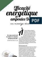 Efficacité énergétique et ampoules DEL