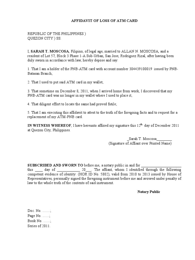 Affidavit Of Loss Template what do i put in a cover letter – Affidavit Sample Format
