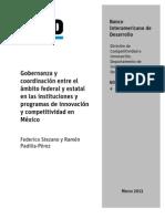 BID (2013) Gobernanza en instituciones y programas de innovación y competitividad en México
