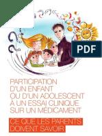 Participation d'un enfant à un essai clinique sur un médicament