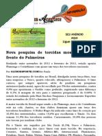 Nova pesquisa de torcidas mostra Vasco à frente do Palmeiras