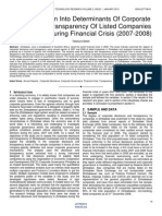 An Investigation Into Determinants of Corporate Disclosure & Transparency of Listed Companies in Zimbabwe During Financial Crisis 2007 2008