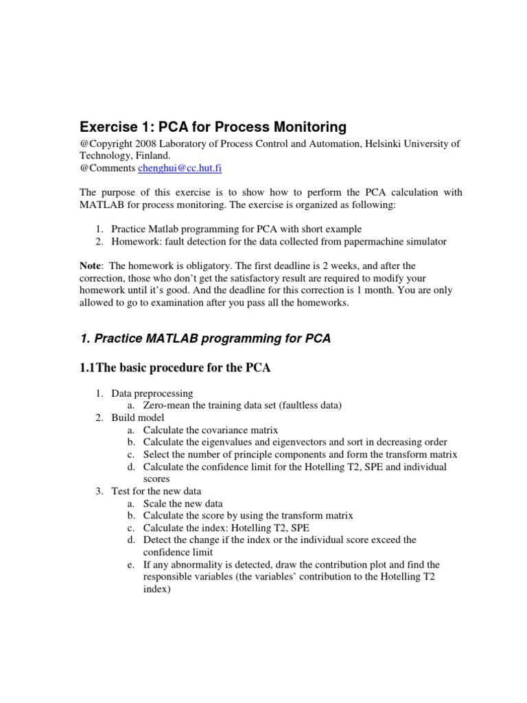Exercise 1 Instruction Pca | Principal Component Analysis