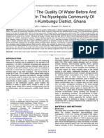 Assessment of the Quality of Water Before and After Storage in the Nyankpala Community of the Tolon Kumbungu District Ghana