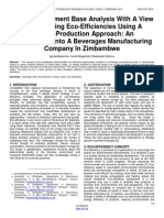 Cause Assessment Base Analysis With a View to Enhancing Eco Efficiencies Using a Cleaner Production Approach an Investigation Into a Beverages Manufacturing Company in Zimbambwe