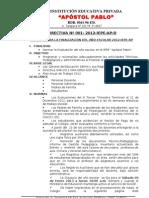 Directiva Matricula Apostol Pablo 2012