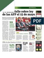 TC daría fallo sobre ley de las AFP el 15 de mayo