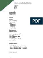 Program of Data Handiling