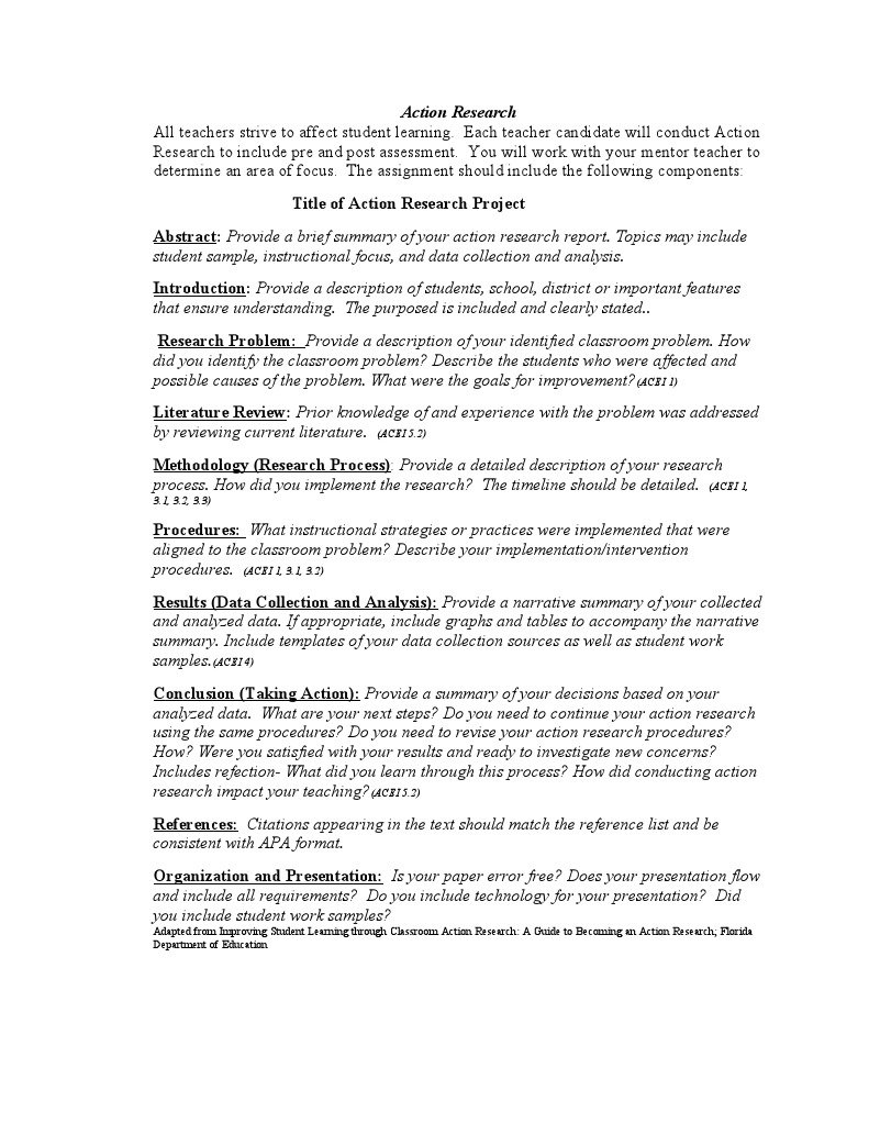 action research paper components