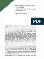 La filosofía hispano-árabe y los manuscritos de Toledo. G. Junceda