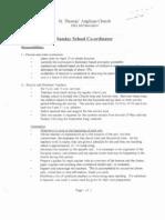 Sunday School Coordinator Job Description