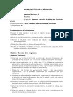 PROGRAMA ANALÍTICO DE LA ASIGNATURA Proyecto III