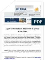 22.09.2011 Aspetti Contabili e Fiscali Contratto Di Agenzia-le Provvigioni