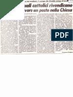 """""""Gli omosessuali cattolici rivendicano il diritto ad avere un posto nella Chiesa"""" (Il Giornale, 28 marzo 1982)"""